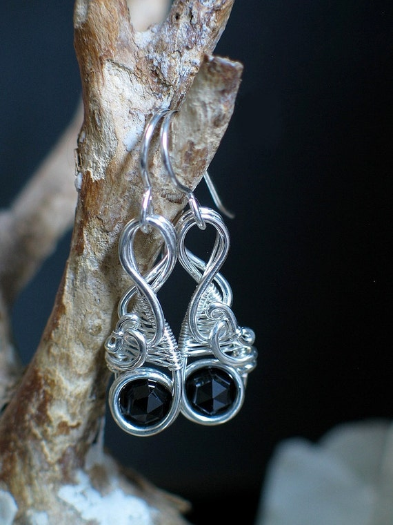 Black Spinel Wire Wrapped Earrings Silver