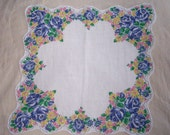 vintage scalloped hankie blue roses yellow daisies FREE SHIPPING