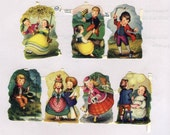Victorian Style English Die Cut Children Playing
