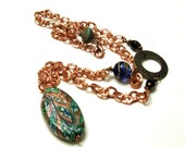 Green Murano Glass and Copper Wire Wrapped Pendant Necklace Venetian Glass Copper Necklace Woodland Boho