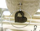 Brass Heart Modern Dangle Earrings Sterling Silver Hoop Earrings Romance Love