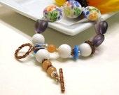 Purple and White Floral Lampwork Boho Beaded Bracelet, for Her Under 125, Gift for Mom Girlfriend