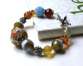 Blue and Peach Sterling Silver Bohemian Beaded Bracelet  / Chunky Lampwork / Boho