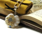 Flower Lampwork Sterling Silver Pendant Necklace Wearable Art Cream Blue Lampwork Boho Necklace Romantic Rustic /