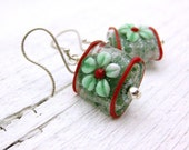 Christmas Earrings Red Green Glitter Holiday Lampwork Sterling Silver - Festivity