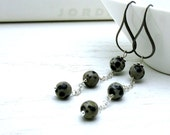 Black and Gray Long Dangle Earrings Minimalist Gray Wire Wrapped Modern Cool Urban Charcoal