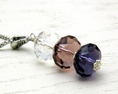 Pink and Purple Modern Pendant Necklace, Pastel Crystal Sterling Silver Necklace, for her Under 100