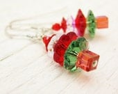Christmas Tree Earrings Swarovski Crystal Sterling Silver holiday red green gift for her under 30 stocking teacher