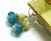 Boho Teal Lampwork Sterling Silver Earrings / Modern Lime and Teal Beaded Earrings / Ocean / Beach / Chartreuse