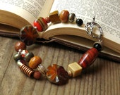 RESERVED for Jackie Orange, Brown, and Sterling Silver Colorful Bracelet - Sequel