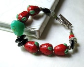 Strawberry and Sterling Silver Bracelet - Stawberry Patch / Fruit Juicy Garden