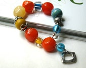 Orange, Blue Murano, and Sterling Silver Bracelet - Bonanza / Summer Boho