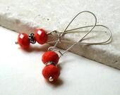 Red Beaded Dangle Earrings  / Orange Modern Drop Earrings / Tomato / Harvest / Holidays