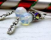 Sterling Silver Holly Crystal Dangle Earrings Winter Holidays For Her  Under 50 Teacher Gift Stocking Stuffer