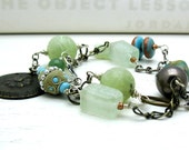 Eclectic Turquoise Jade Wrapped Necklace:  woodland bohemian luxe celery green convertible spring
