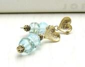 Aquamarine Lampwork Gold Heart Post Earrings, Modern Beaded Stud Earrings, for Her Under 100