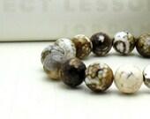 Mod Brown Beaded Bracelet / Modern Coffee Beaded Bracelet / Modern Brown Stretch Bracelet / Woodland / Rustic / French Roast / Latte
