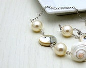 RES FOR CAROLYN  White Shell Pearl Sterling Silver Necklace - Seaside: luxe travel caribbean ooak summer