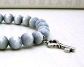 Gray Hombre Tigers Eye Beaded Bracelet with Key Charm / Grey Modern Beaded Bracelet / Storm. Ombre. Fog. Cloudy