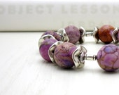 Purple Jasper Bohemian Beaded Bracelet / Plum Aqua Terra Jasper Bracelet / Chunky