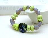 RES for GEORGE - Lime Turquoise Lampwork Beaded Bracelet with Sterling Silver - Marla / stretch stack bohemian