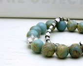 RES FOR HOLLY - Aqua African Opal Pewter Bracelet - Aquatic / Summer Marble Pastel