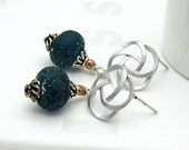 Midnight Blue Lampwork Silver Earrings - Starry Eyed / Nautical Planet Galaxy Americana