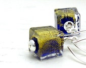 Blue Gold Murano Glass Modern Dangle Earrings / Cobalt Blue Geometric Dangle Earrings / Midnight / Minimalist / Mod / Cool