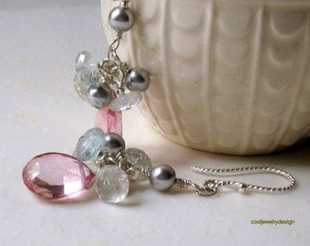 Pink Gemstone Cluster Dangle Earrings, Aquamarine Quartz Fashion Earrings, for her under 125