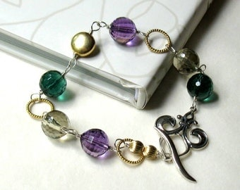 Purple and Green Gemstone Wire Wrapped Bracelet, Boho Fleur de lis GF Mixed Metals, Mardi Gras, For Her Under 160