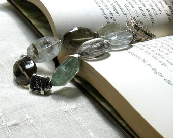 Moss Included Quartz Luxe Boho Gemstone Bracelet, Chunky Organic Boutique Wearable Art, For Her Under 450, High End