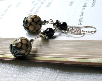 Black Porcelain Boho Dangle Earrings, Black Beaded Boho Earrings, Honey Woodland for Her Under 75