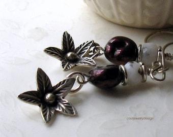 Red Pearl Pink Opal Boho Dangle Earrings Natural Stone and Silver Earrings / Earthy