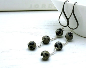 Black and Gray Long Dangle Earrings, Minimalist Dalmation Jasper Wire Wrapped Modern Drop Earrings, For Her Under 75
