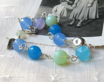 Blue Quartz Sterling Silver Wire Wrapped Beaded Bracelet, Organic, Pastel, For Her Under 120