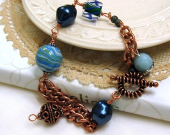 Teal and Copper Boho Wire Wrapped Bracelet, Teal Blue Beaded, Copper Chain Bracelet, for Mom Girlfriend Her Under 100