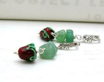 Strawberry Lampwork Leverback Earrings, Modern Strawberry Dangle Earrings Boho Berry Earrings, for Under 75