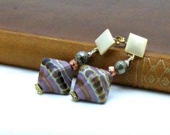 Purple Lampwork Gold Dangle Earrings, Boutique Purple Post, Geometric Beaded Earrings for her Under 100