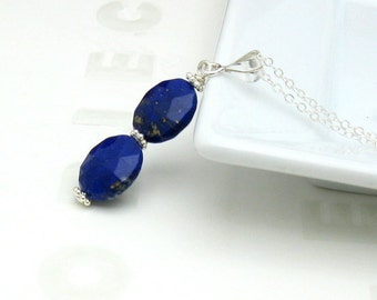 Lapis Lazuli Oval and Sterling Silver Pendant Necklace, Delicate Cobalt Blue Necklace, for Her Under 110