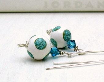 Teal and White Sterling Silver Dangle Earrings Geometric Drop Earrings Modern