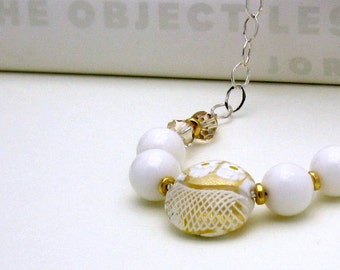 White Gold Murano Glass Wire Wrapped Necklace, One of a Kind, Modern Venetian Glass Necklace, For Her Under 200, Girlfriend or Mom Gift