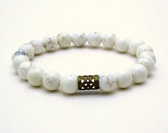 White Minimalist Beaded Bracelet White Magnesite Partner Bracelet with Brass for Her Under 40, US Free Shipping