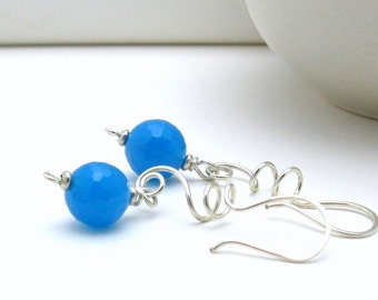 Blue Modern Dangle Earrings, Minimalist Sky Blue Sterling Silver Drop Earrings,  For Her Under 55 Mom or Girlfriend Gift