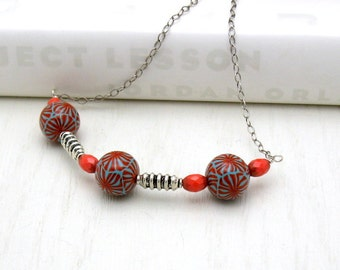 Red Turquoise Modern Geometric Wire Wrapped Bib Necklace,  Silver Hanger Necklace, Gift for Her Under 100