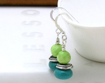 Turquoise Lime Modern Dangle Earrings, Lime Green Turquoise Silver Beaded Earrings, Minimalist, for Her Under 75