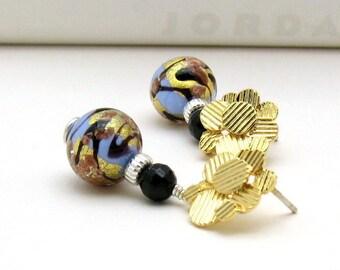 Gold Black Blue Murano Glass Post Earrings, Modern Metallic Beaded Stud Earrings, Luxe Statement, For Her Under 75