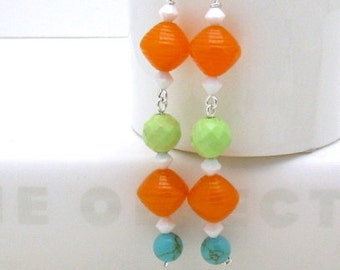 Orange and Lime Boho Dangle Earrings, Multicolor Bright Earrings, Wire Wrapped Lime Beaded,  Free US Shipping, For Her Under 45