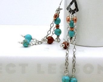 Turquoise Boho Chandelier Dangle Earrings, Bohemian Wire Wrapped Tribal Earrings, Southwestern, For Her Under 100