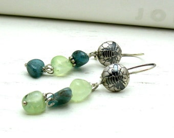 Teal Kyanite and Green Prehnite Gemstone Sterling Silver Dangle Earrings, Woodland Honey Bee, Fresh,  Boho, For Her Under 125