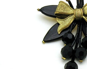 Vintage Black and Gold Brooch Retro Jewelry Statement Jewelry Floral Bow